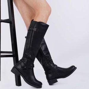 Black Knee High Boots Heeled Boots